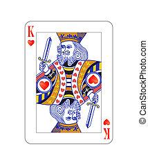 koenig, freigestellt, herzen, weißes, spielen karte