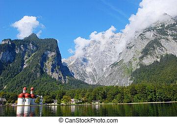 Koenigssee and Watzmann - Monastery of St.Bartholomae and...