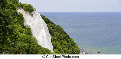 Koenigsstuhl (King's Chair), a chalk cliff on the Stubbenkammer in the Jasmund National Park on the Baltic Sea island of Ruegen, Germany