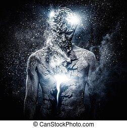 koerper, begrifflich, geistige kunst, mann