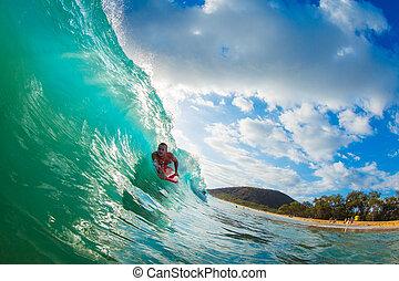 koerper, blaues, surfen, pensionsgast, ozean- welle