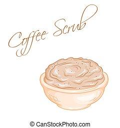 koerper, bohnenkaffee, schrubben, freigestellt, abbildung, ...