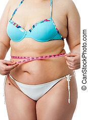 koerper, detail, von, übergewichtige , m�dchen, in, bikini.