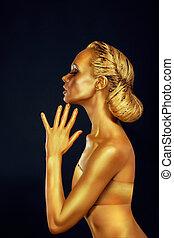 koerper, goldenes, frau, aus, schwarzer hintergrund