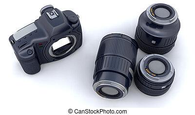 koerper, kameraobjektive, slr, digital