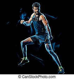 koerper, kampf, boxen, freigestellt, schwarzer hintergrund, fitness, cardio, übung, mann