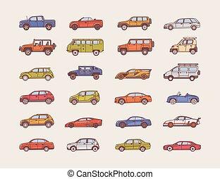 koerper, satz, kunst, modern, style., verschieden, -, verschieden, autos, stile, bunte, groß, ansteigen, sammlung, autos, abbildung, linie, konfiguration, hatchback., cabriolet, vektor, types., sedan