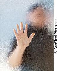 koerper, silhouette, bereift, mannes, durch, glasssilhouette