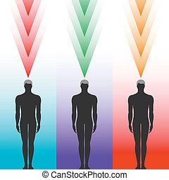 koerper, silhouette, menschliche