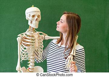 koerper, skeleton., schule, weiblicher student, concept., biologie, künstlich, hoch, class., menschliche , spaß, porträt, bildung, haben, kühl