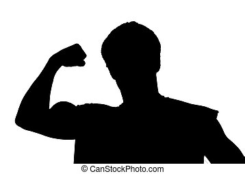 koerper, strains, bauunternehmer, biceps., junger