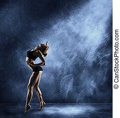 koerper, tanzen, athletische, künstler, tanz, tänzer, posierend, fitness, frau, m�dchen, sport, ausdrucksvoll