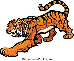 koerper, tiger, vektor, maskottchen, grafik
