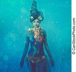 koerper, underwater, frau, kunst, fantasie, kreatur