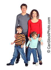 koerper, vier, voll, familie, glücklich