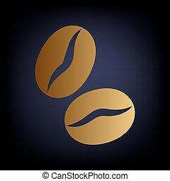 Koffe grains icon. Golden style icon on dark blue background.