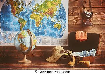 koffer, kleding, en, accessoires