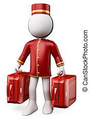 koffer, mensen., twee, bellhop, witte , 3d