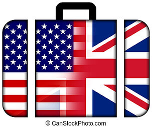 koffer, met, usa, en, uk, vlag