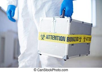 koffer, mit, biohazard