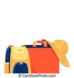 koffer, sommer- hut, weibliche