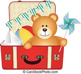 koffer, teddy beer, speelgoed