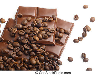 koffie, achtergrond, chocolade