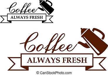 koffie, always, etiket, fris, of, pictogram