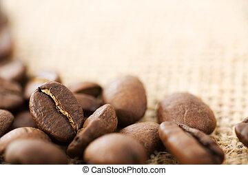 koffie, beans., brandpunt, selectief