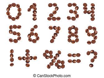 koffie, beans., getallen, tekens & borden