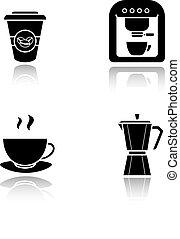 koffie, black , schaduw, iconen, set, druppel