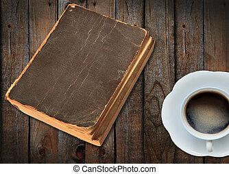 koffie, boek, oud, kop