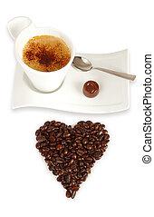 koffie bonen, chocolade