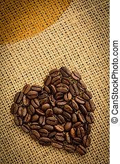 koffie bonen, gemaakt, hart, geroosterd