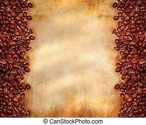 koffie bonen, op, oud, perkament, papier