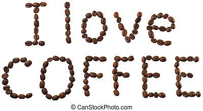 koffie bonen, vrijstaand, woorden