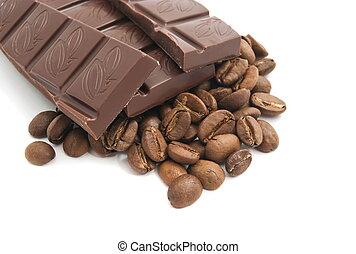 koffie bonen, witte chocola