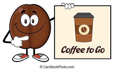 koffie boon, richtend aan, een, meldingsbord