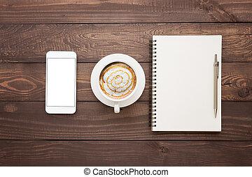 koffie, bovenzijde, telefoon, hout, leeg, tafel, boek, aanzicht