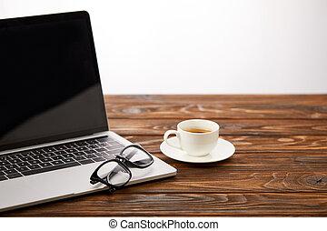 koffie, brillen, kop, houten, draagbare computer, oppervlakte, scherm, leeg