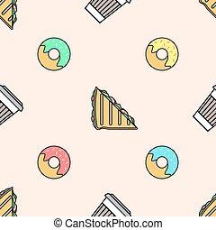 koffie, broodje, gekleurde, kop, model, seamless, donut, papier