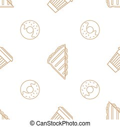 koffie, broodje, schets, kop, model, seamless, donut, papier