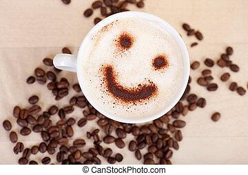 koffie, cappuccino, smileygezicht, bonen, tafel