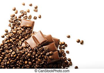 koffie, chocolade, bonen, achtergrond, geroosterd, witte , stukken