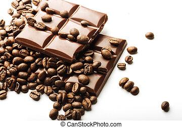 koffie, chocolade, bonen, achtergrond, witte , stukken