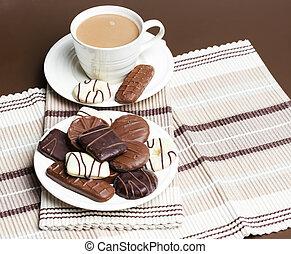 koffie, chocolete, koekjes, kop