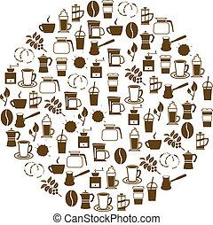 koffie, cirkel, iconen