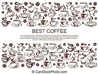 koffie, coffeehouse, poster, koffiehuis, vector, koppen