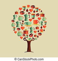koffie, concept, drank, boompje, set, koffiehuis, pictogram