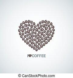 koffie, concept, liefde, vector, bonen, achtergrond